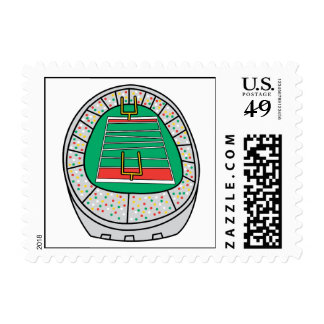 football stadium graphic postage stamp
