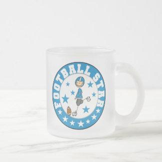 Football Star 10 Oz Frosted Glass Coffee Mug