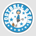 Football Star Tshirts and Gifts Round Stickers