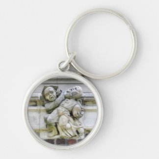 Football Stone Art Silver-Colored Round Keychain