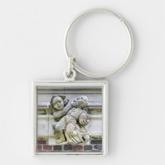 Football Stone Art Silver-Colored Square Keychain