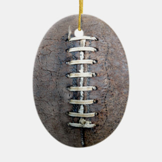 Football Strings vertical Double-Sided Oval Ceramic Christmas Ornament
