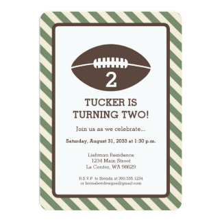 Football Stripped Birthday Party Card