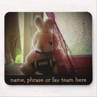 Football Stuffed bunny with Your Phrase Mouse Pad