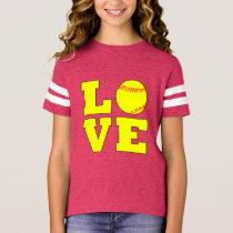 Football Style Girls Fastpitch Love Jersey Shirt
