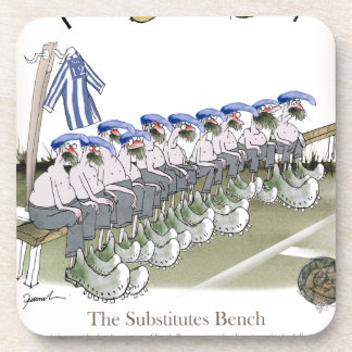football substitutes blue white stripes beverage coaster