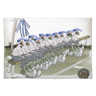 football substitutes blue white stripes cloth placemat