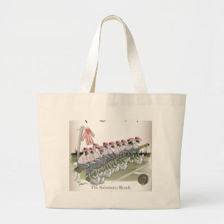 football substitutes red white stripe large tote bag