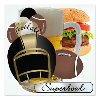 Football Super Bowl Party by SRF Personalized Invitation