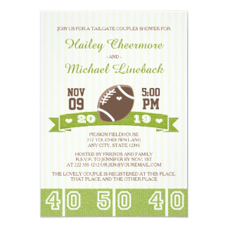 FOOTBALL TAILGATE COUPLES WEDDING SHOWER 5X7 PAPER INVITATION CARD