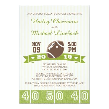Valentines Themed FOOTBALL TAILGATE COUPLES WEDDING SHOWER CARD