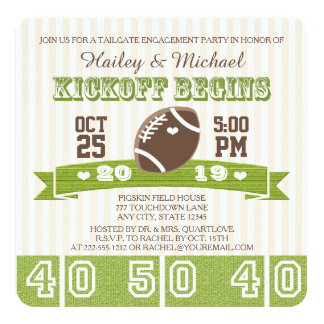 FOOTBALL TAILGATE ENGAGEMENT PARTY CARD