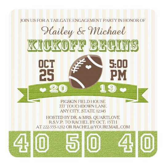 FOOTBALL TAILGATE ENGAGEMENT PARTY CARD | Zazzle