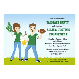 """Football Tailgate Engagement Party Invitation 5"""" X 7"""" Invitation Card"""