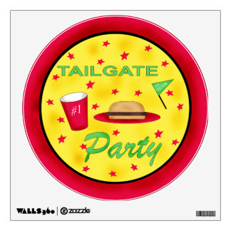 Football Tailgate Round Party Wall Decal Sign