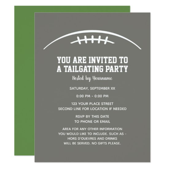 Football Tailgating Party - CAN EDIT COLORS Invitation