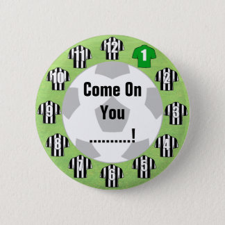 Football Team Badge with Black & White Shirts Pinback Button