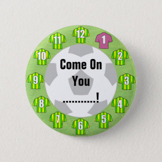 Football Team Badge with Green & Yellow Shirts Pinback Button