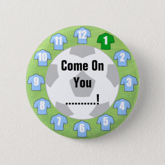 Football Team Badge with Light Sky Blue Shirts Pinback Button