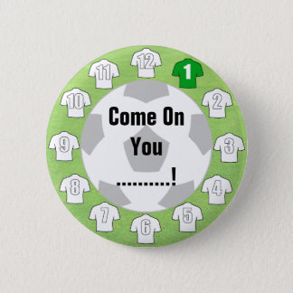 Football Team Badge with White Shirts Pinback Button