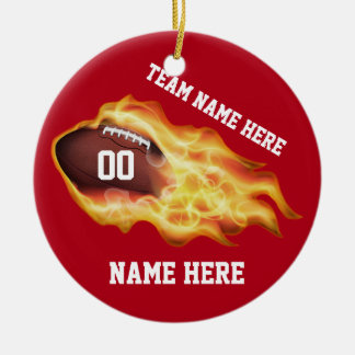Football Team Gifts Personalized, Your Team Colors Double-Sided Ceramic Round Christmas Ornament