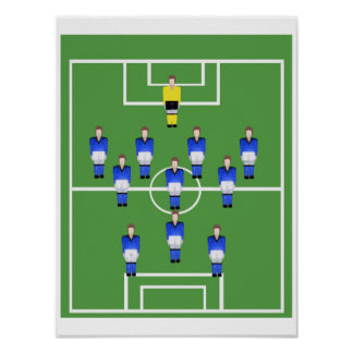 Football team in blue poster