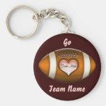 Football Team Mom Basic Round Button Keychain