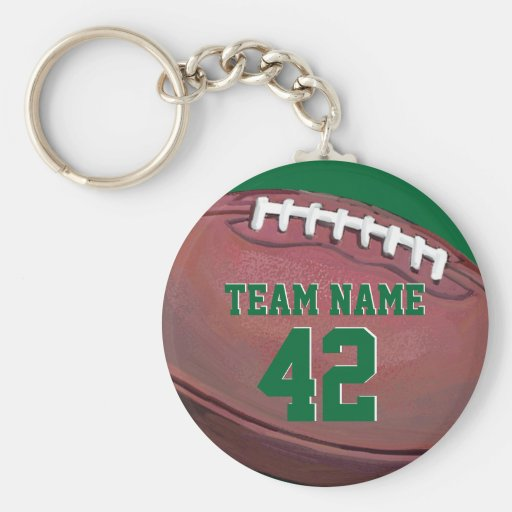 Football Team Name and Number Keychains