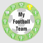 Football Team Stickers with Green & White Shirts