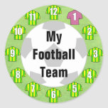 Football Team Stickers with Green & Yellow Shirts