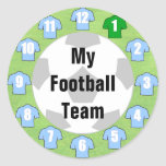 Football Team Stickers with Light Sky Blue Shirts