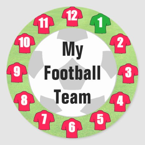 Football Team Stickers with Red Shirts