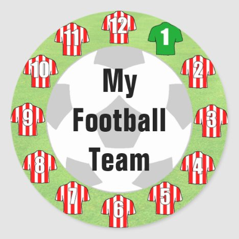 Football Team Stickers with Red & White Shirts