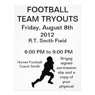 Football team tryouts flyer