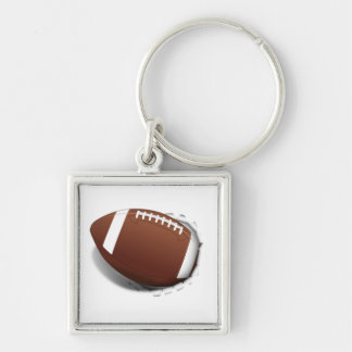 Football Tearing Out Silver-Colored Square Keychain