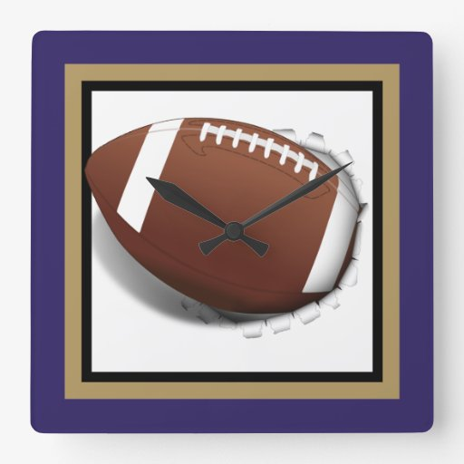 Football Tearing Out -Team Colors - Gold & Black Square Wall Clock