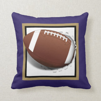 Football Tearing Out -Team Colors - Gold & Black Throw Pillow