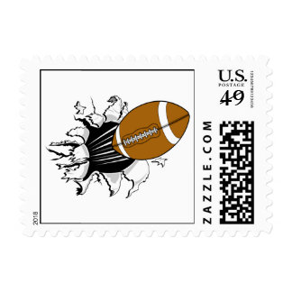 football tearing through graphic postage
