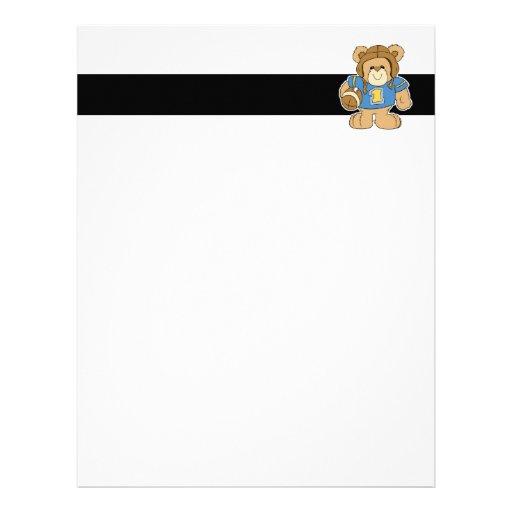 Football Teddy Bear Design Custom Letterhead