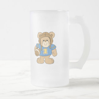 Football Teddy Bear Design Frosted Glass Beer Mug