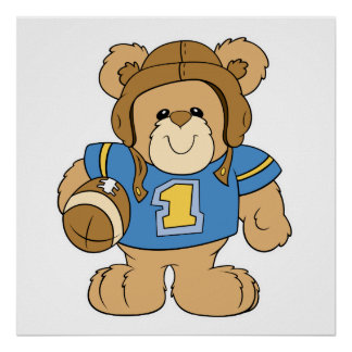 Football Teddy Bear Design Poster