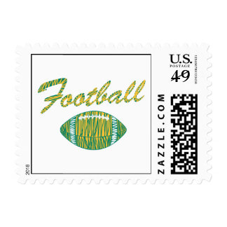 football text and ball orange gold and green postage stamps