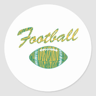 football text and ball orange gold and green classic round sticker
