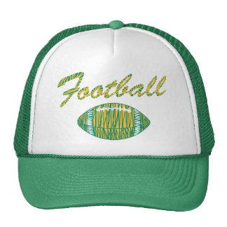 football text and ball orange gold and green trucker hat