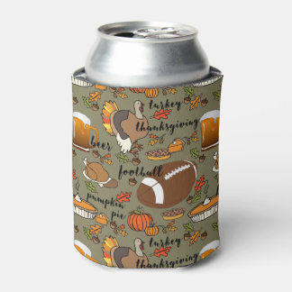 Football, Thanksgiving, Beer, Turkey Design Can Cooler