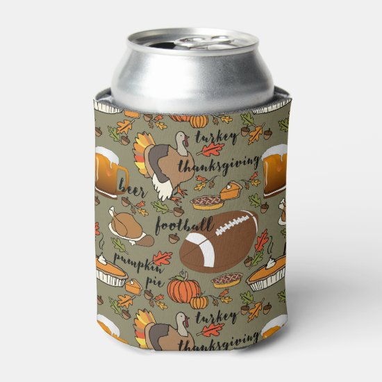 Football, Thanksgiving, Beer, Turkey Design Can Cooler