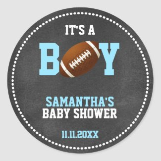 Football Theme Baby Shower Chalkboard Boy