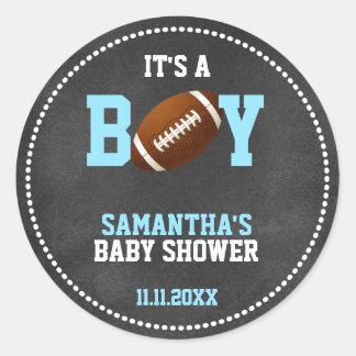 Football Theme Baby Shower Chalkboard Boy Classic Round Sticker