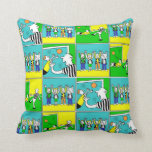 Football Theme with Players and Fans Throw Pillow