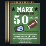 """Football Themed 50th Birthday Invitation<br><div class=""""desc"""">Add your custom wording to this design by using the """"Edit this design template"""" boxes on the right hand side of the item, or click the blue """"Customize it"""" button to arrange the text, change the fonts and colours and to also add additional information or images to this design. ****For...</div>"""